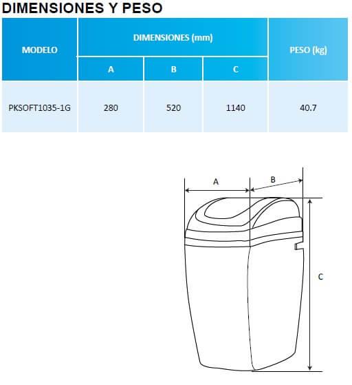 Dimensiones del suavizador de agua en gabinete